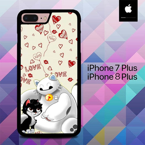Baymax And Grumpy Cat Hairy Baby  O0655 fundas iPhone 7 Plus , iPhone 8 Plus