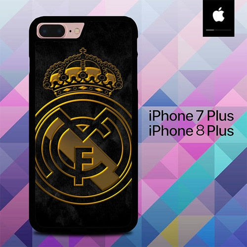 Real Madrid Logo Gold O1261 fundas iPhone 7 Plus , iPhone 8 Plus