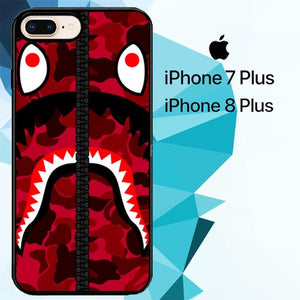 bape red Z4848 fundas iPhone 7 Plus , iPhone 8 Plus