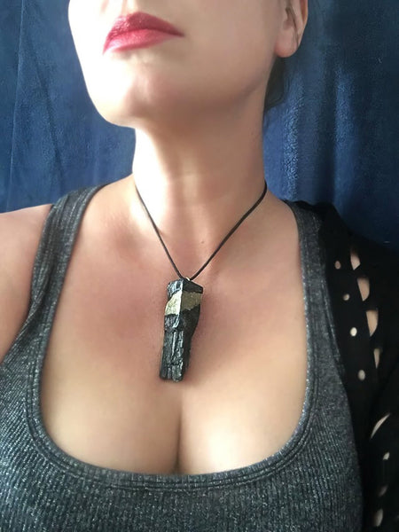 Pyrite cube and black tourmaline pendant