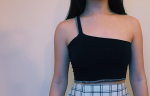 One Shoulder Black Crop Top