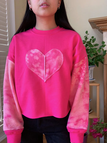 Pink Heart Oversized Crewneck