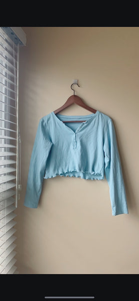 Ice Blue Long Sleeve Crop Top