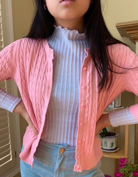 The Pastel Pink Cable Knit Cardigan