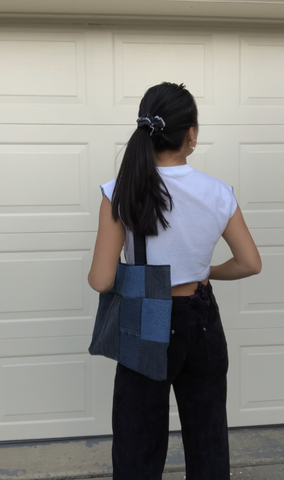 Denim Patchwork Tote Bag