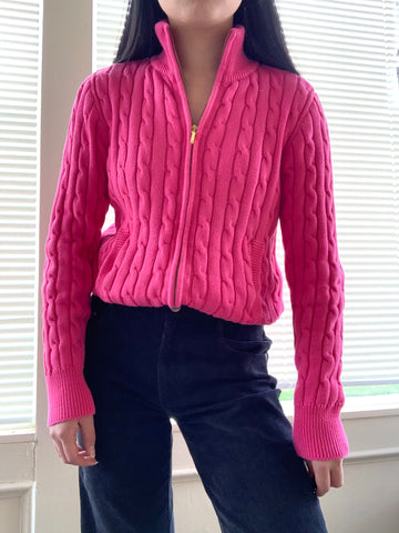 Authentic Chaps Magenta Pink Zip-up Jacket