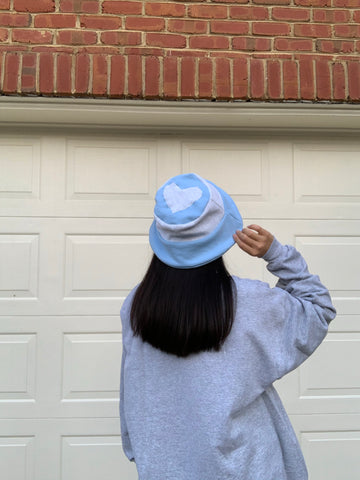 The heather grey bucket hat (w/ light blue patchwork)