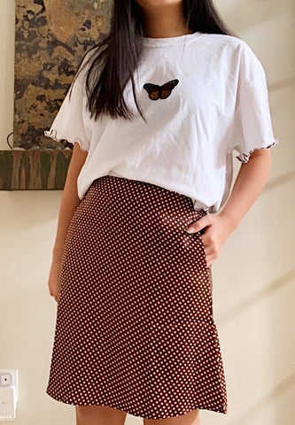 Brown Polka Dot A-Line Skirt