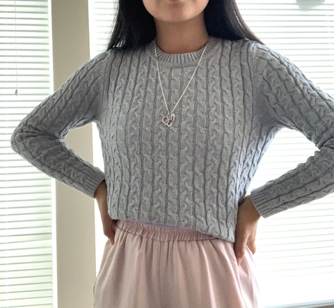 Heather Grey Cable Knit Sweater