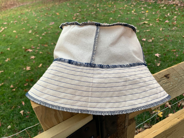 The Ivory Bucket Hat (w/ navy contrast stitching)
