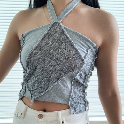 Heather Grey Colorblocked Halter Top