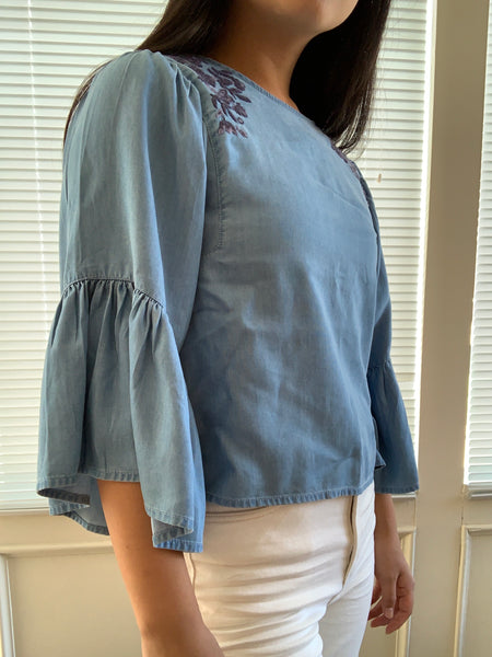 Hollister Bell Sleeve Chambray Top