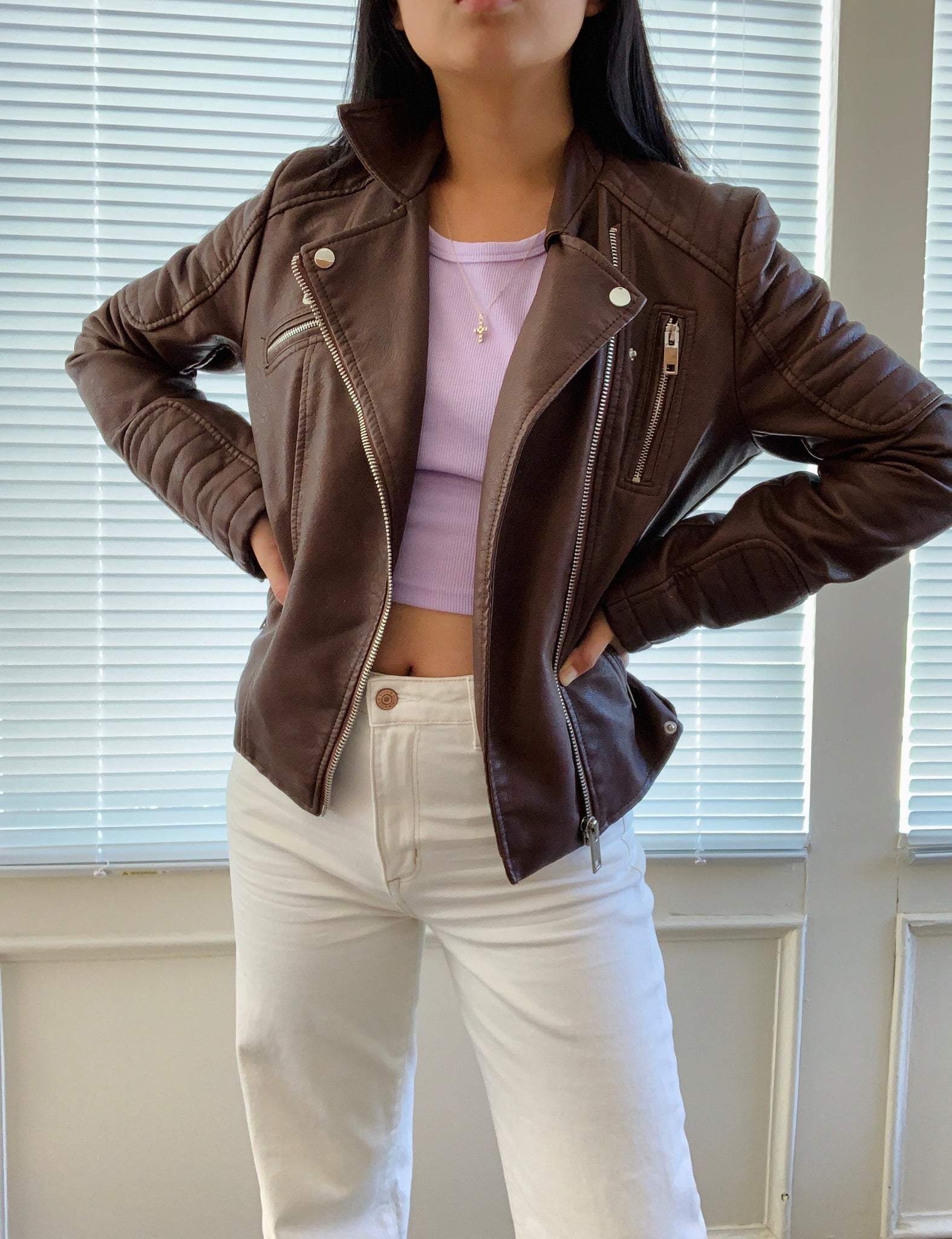 Vintage Faux Oversized Leather Jacket: mint condition