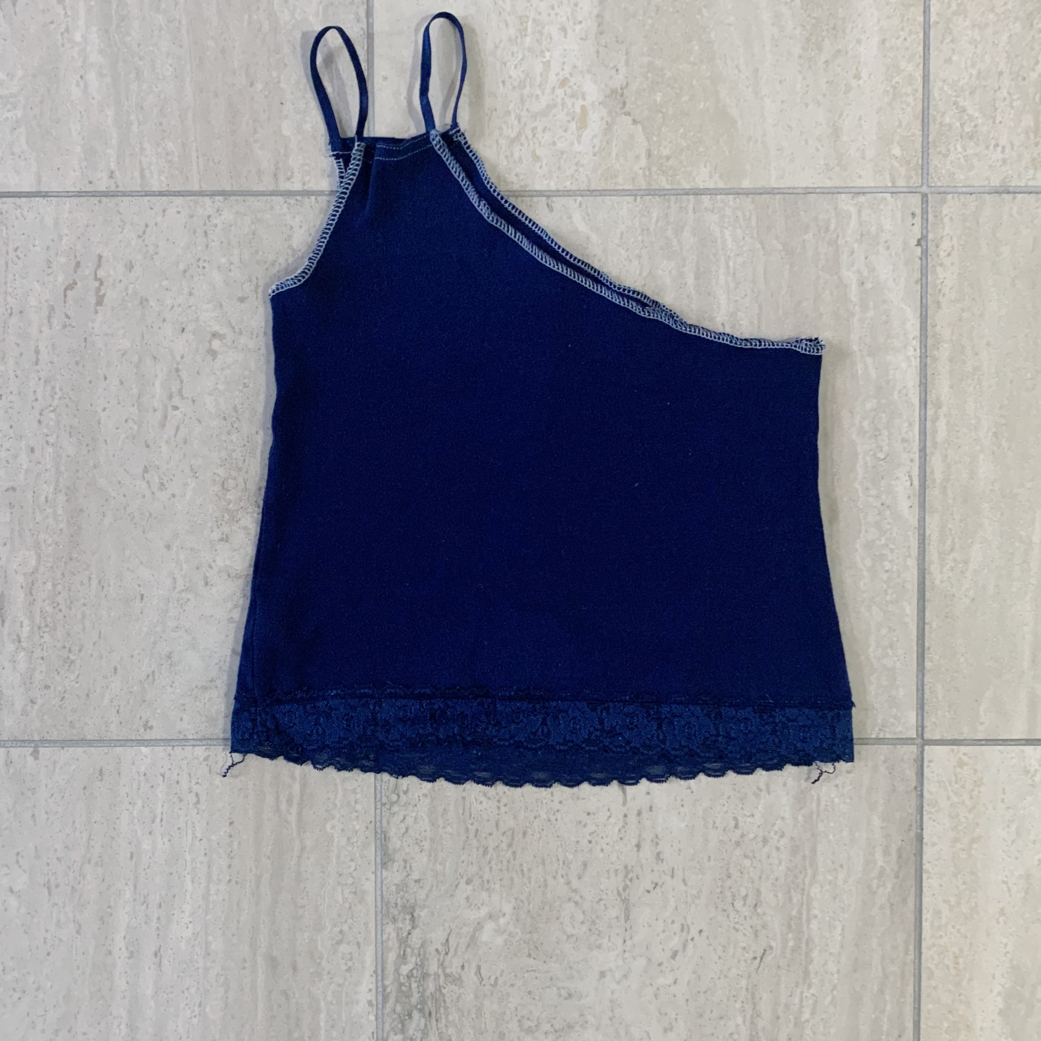 Navy One Shoulder Tank
