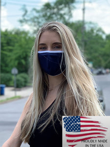 Made in the USA Microfiber Navy/White Masks