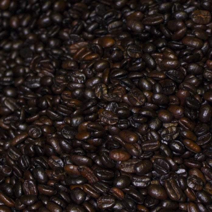 Dark roast beans in roaster