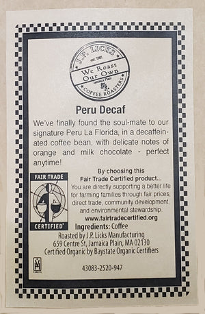 "100% Fair Trade Decaf Peru ""Coop Sol Y Cafe"""