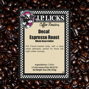 Decaf Espresso Roast JP Licks coffee label