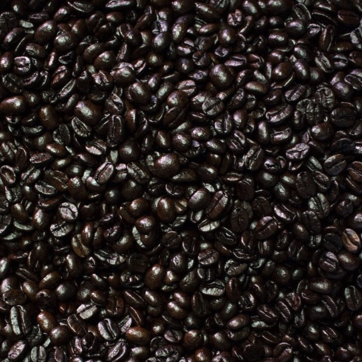 Espresso coffee beans in roaster