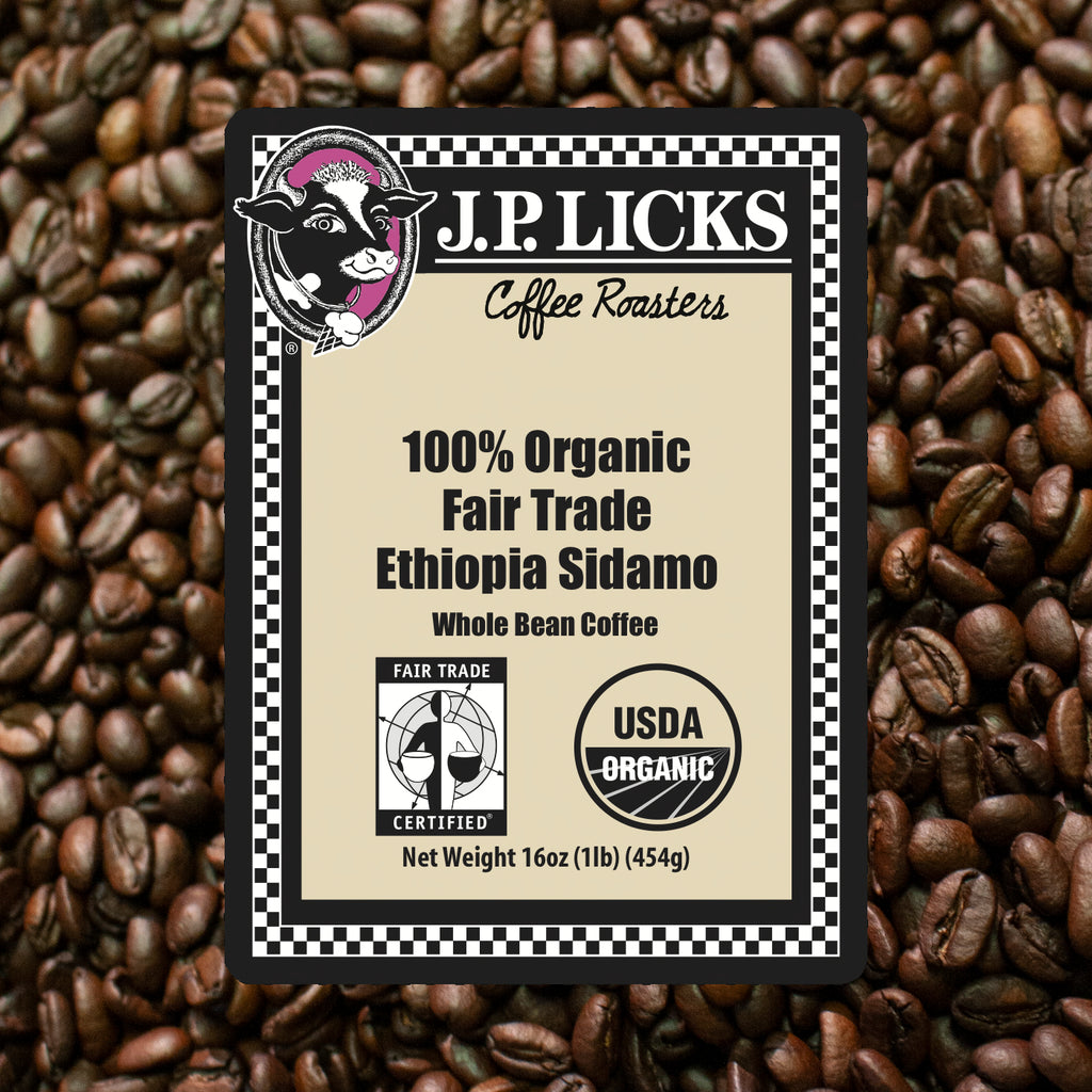 Ethiopia Sidamo Coffee Front label over beans