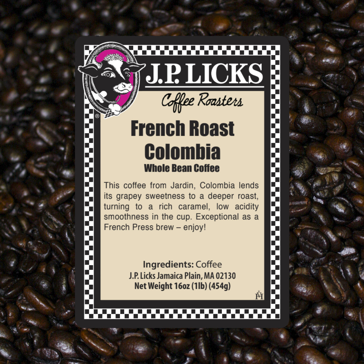 French Roast Columbian Coffee label from JP Licks