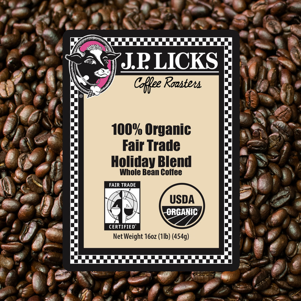 JP Licks 100% Organic Fair Trade Holiday Blend Label front