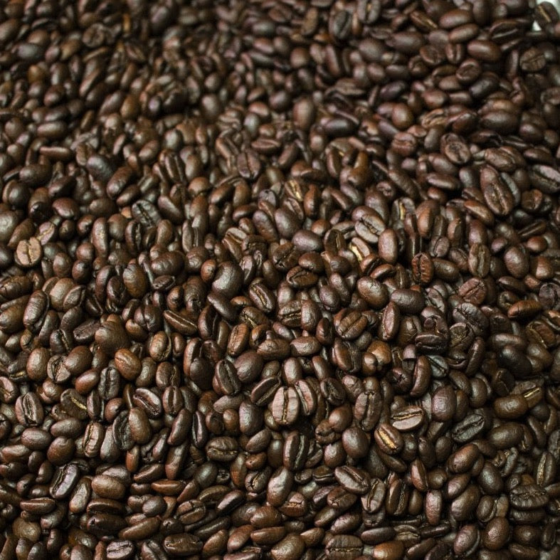 Holiday blend beans in roaster