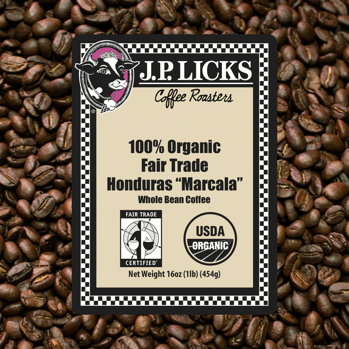 JP Licks 100% Organic Fair Trade Honduras Marcala Label front