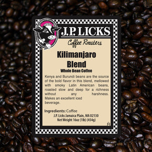 JP Licks Kilimanjaro Blend Coffee label front