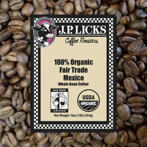 JP Licks 100% Organic Fair Trade Mexico Coffee label front
