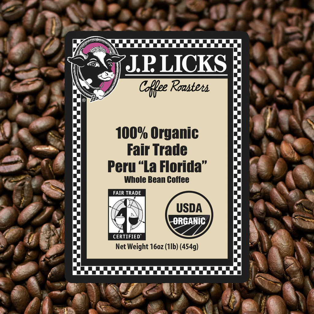JP Licks 100% Organic Fair Trade Peru La Florida coffee label front