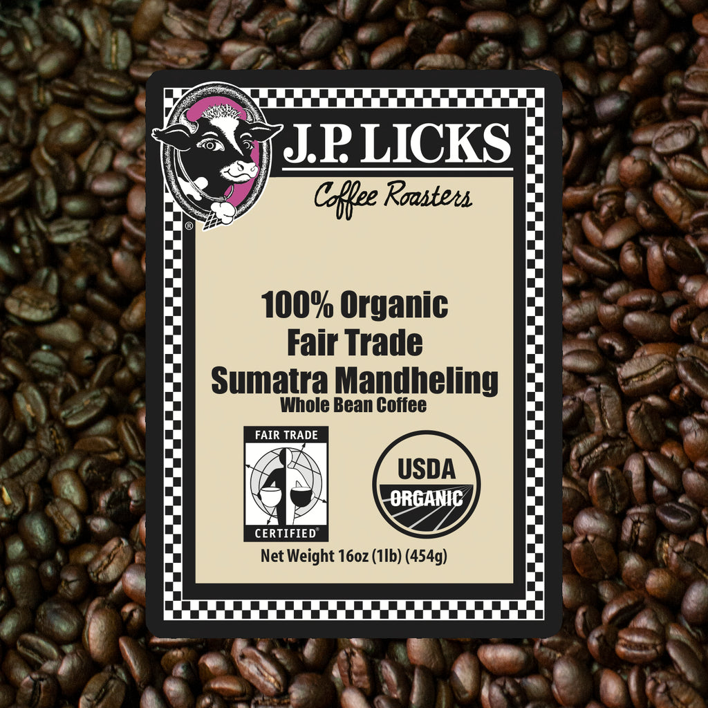100% Organic Fair Trade JP Licks Sumatra Mandheling Coffee Label