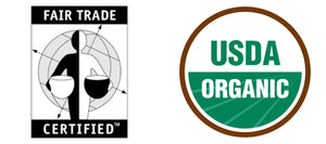 Fair Trade Certified Label and USDA Organic Certification label