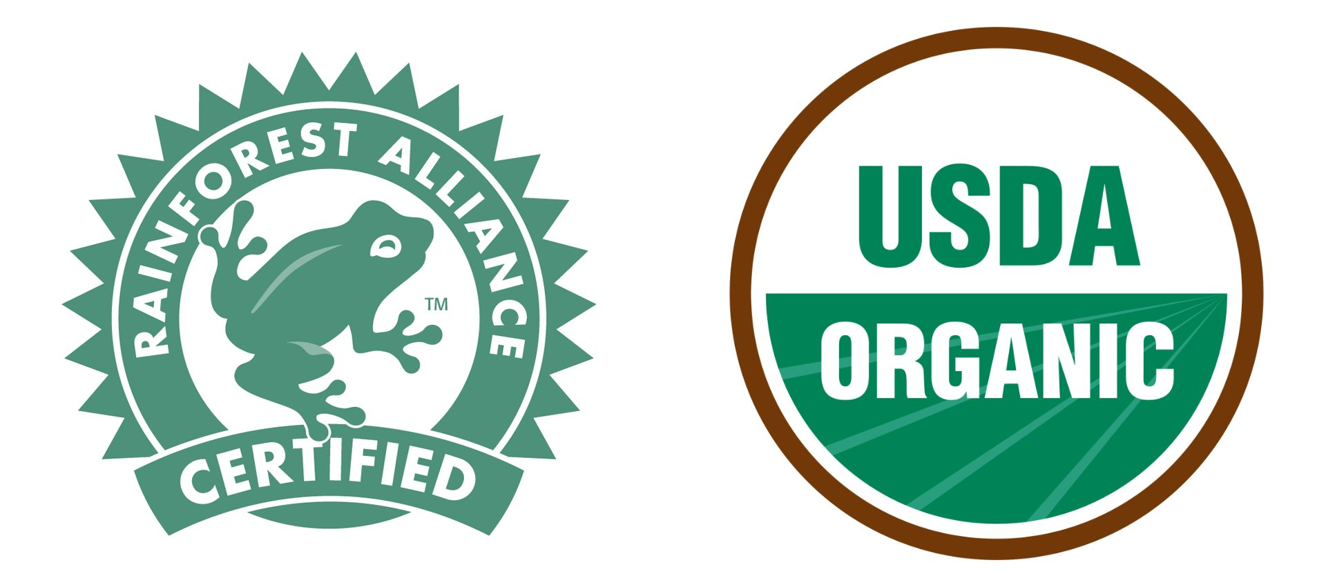 rainforest alliance label and USDA organic label