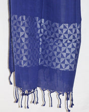 Load image into Gallery viewer, Handloom Jamdani Stole: Indigo