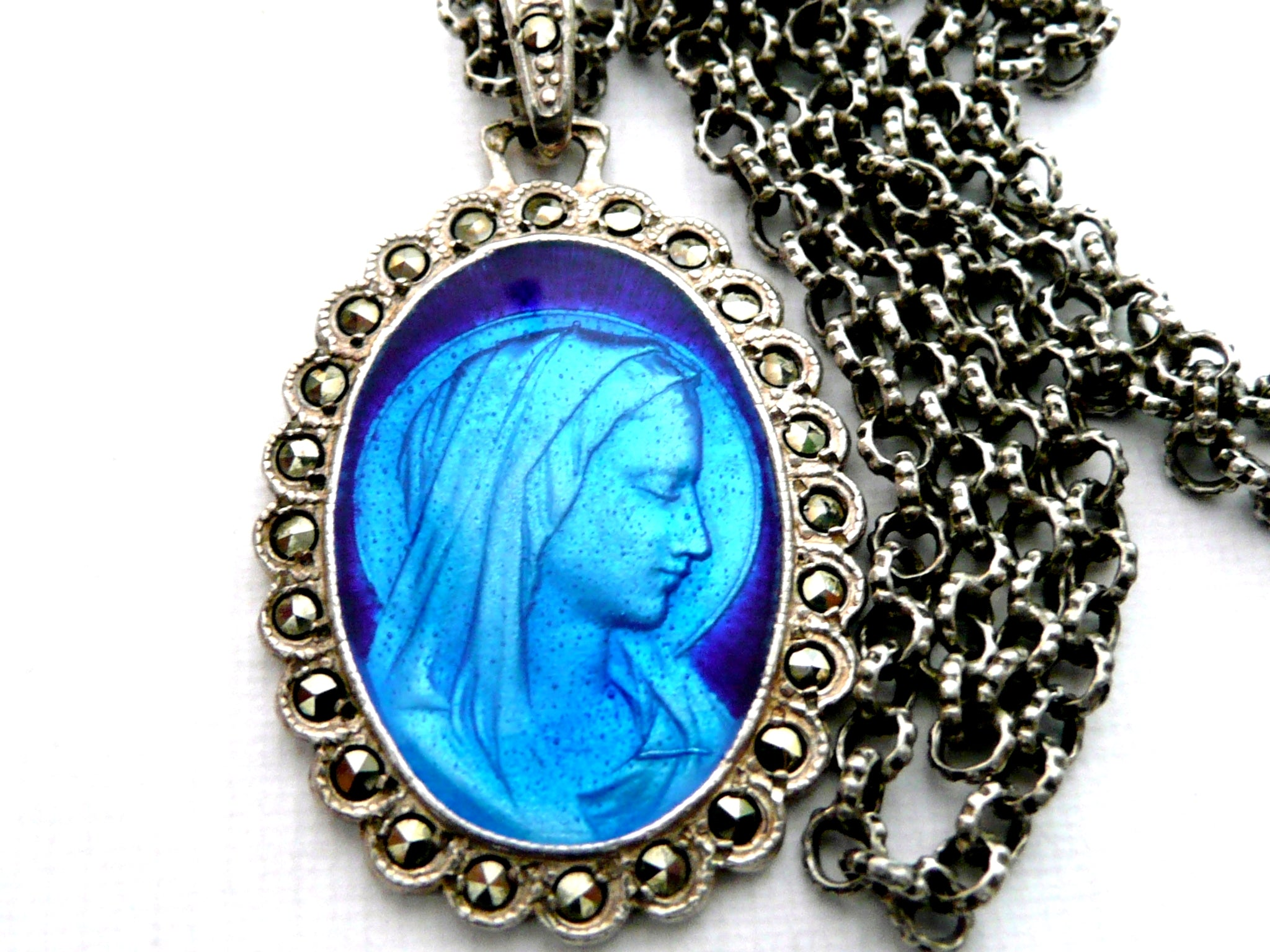 French Our Lady of Lourdes Silver Medal Vintage Our Lady of Lourdes Necklace