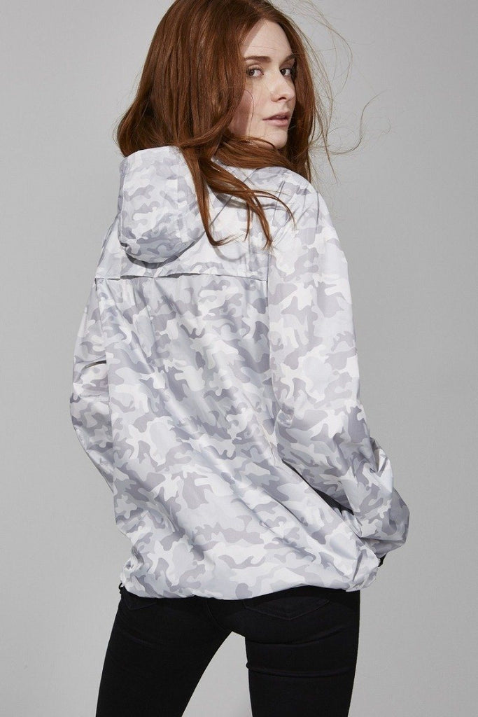 08 Sloane Print Full Zip Packable Rain Jacket- White Camo - Styleartist