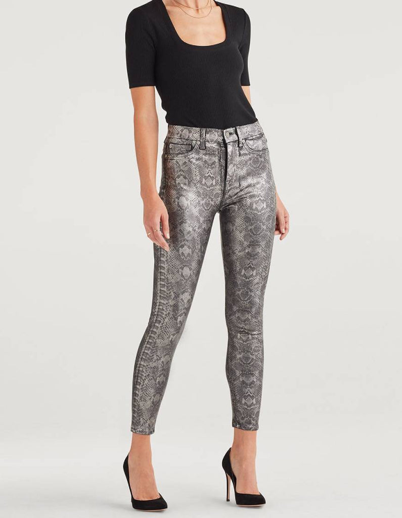 7 for all Mankind Ankle Skinny Pant - Pewter Python - Styleartist