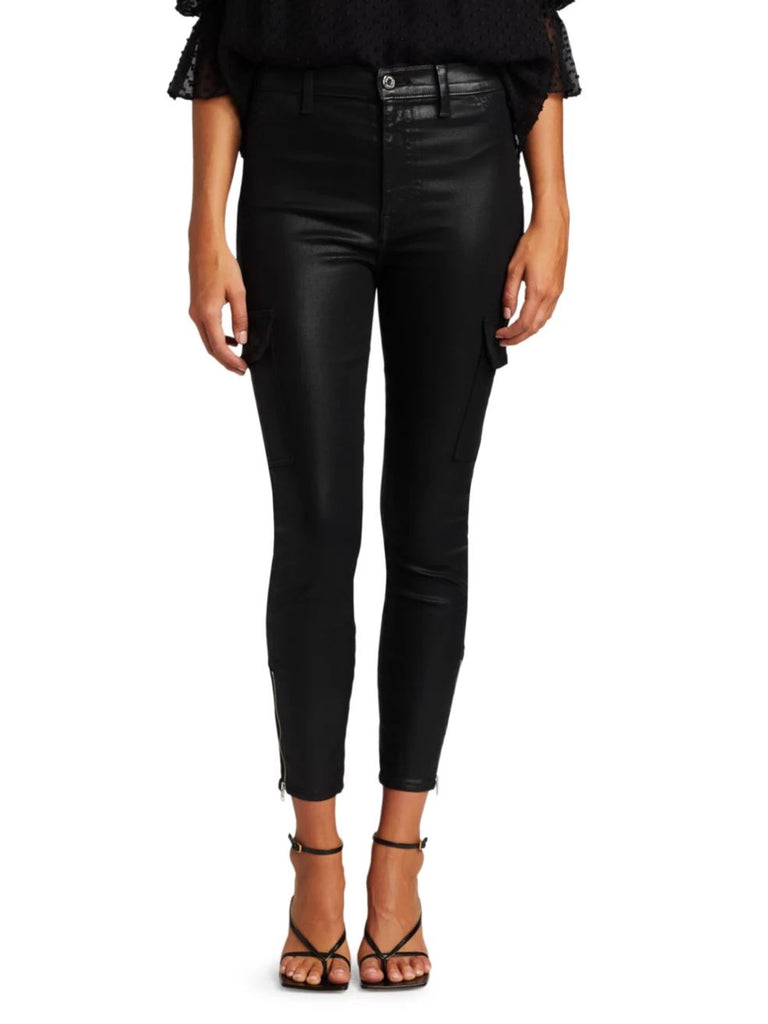 7 For All Mankind Coated Skinny Cargo Jean - Black - Styleartist