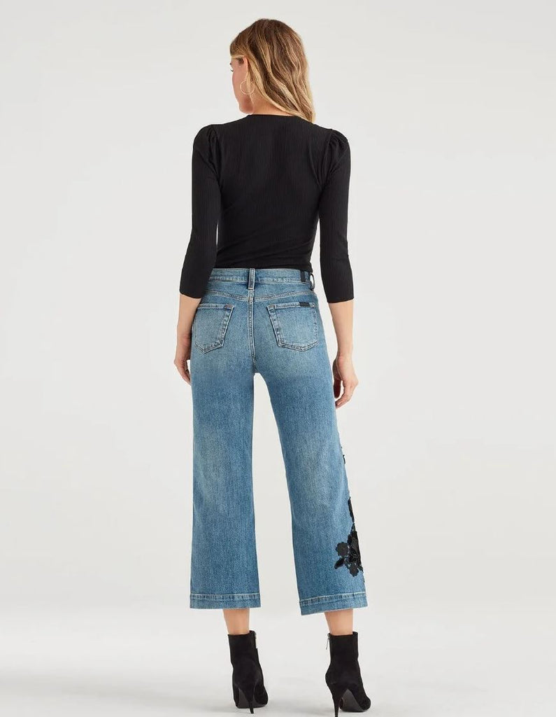 7 for all Mankind Cropped Alexa with Couture Floral Applique - Styleartist