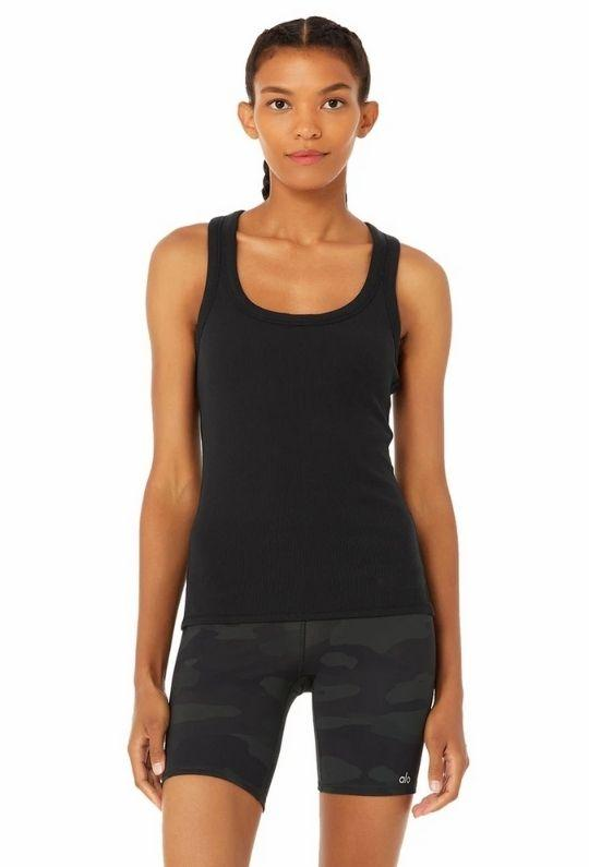 alo Rib Support Tank - Black - Styleartist