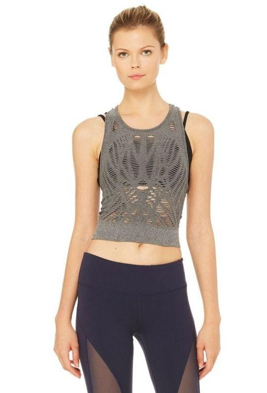 alo Vixen Fitted Crop Tank - Charcoal Heather - Styleartist