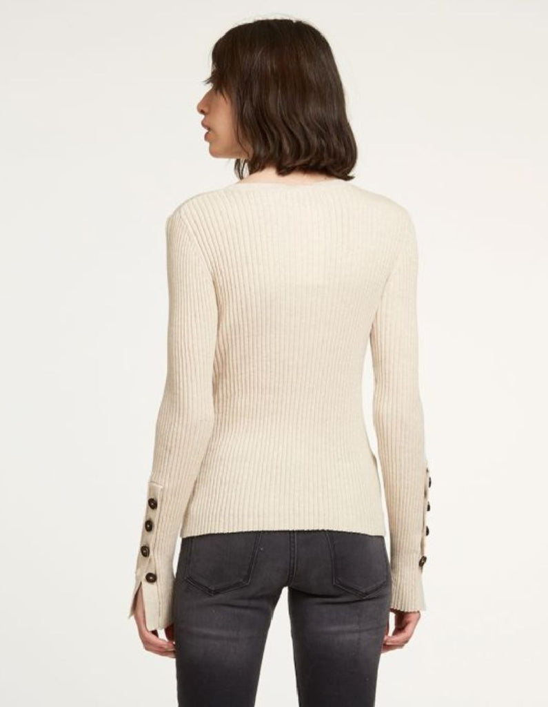 Autumn Cashmere Rib Crew Sweater with Button Cuffs- Natural - Styleartist