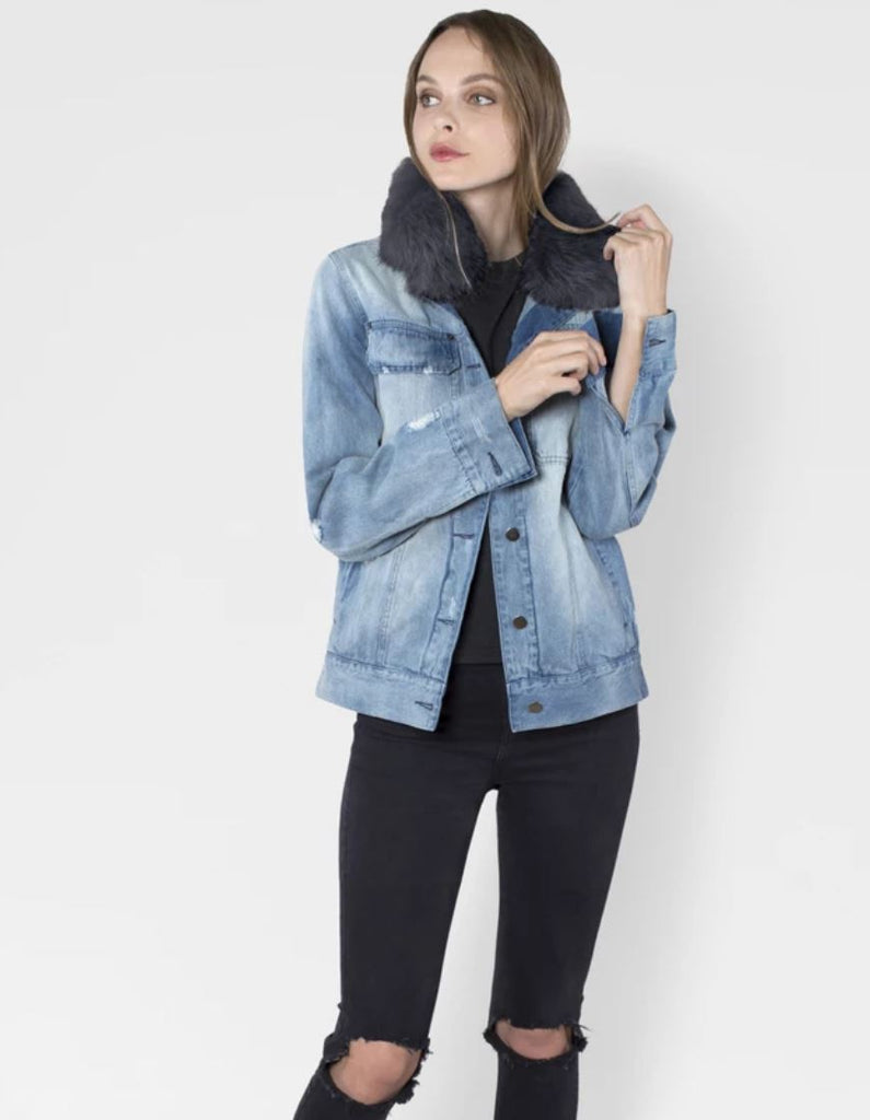 Ava and Kris Jane Oversize Jean Jacket with Removable Fur Collar - Styleartist