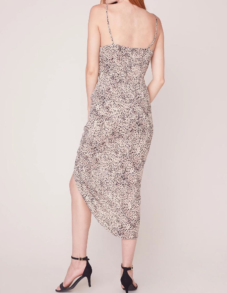 BB Dakota On the Prowl Ruched Slip Dress- Taupe - Styleartist