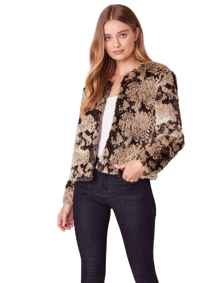 BB Dakota Snake Out Faux Fur Bomber Jacket - Taupe - Styleartist