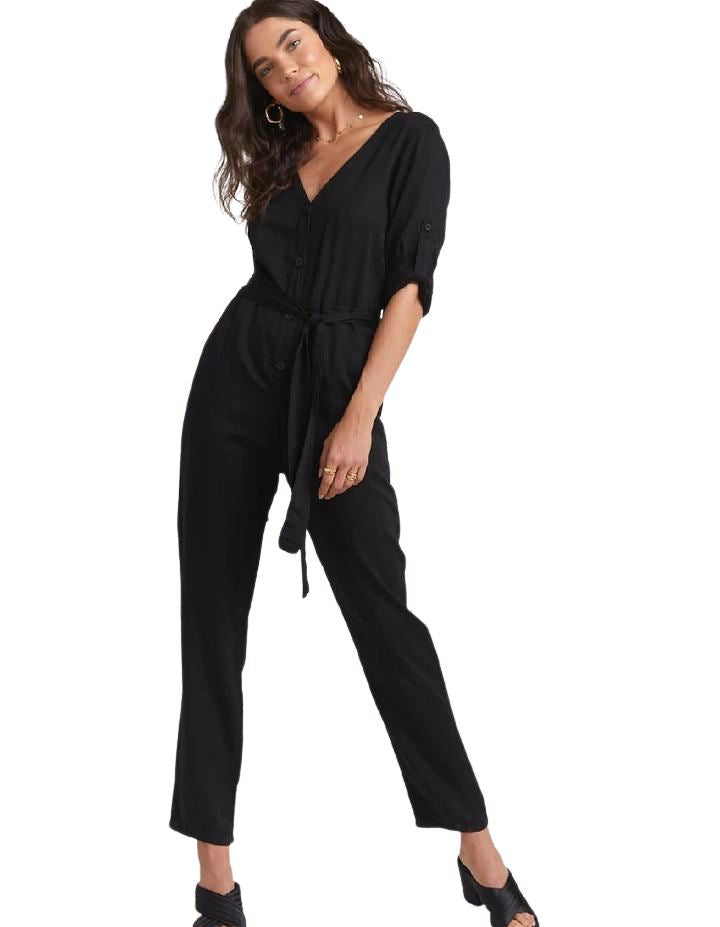 Bella Dahl V-Neck Belted Jumpsuit- Black - Styleartist