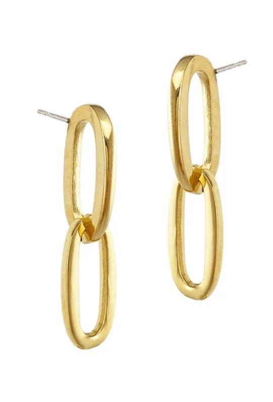 Biko Chainlink Stud Earrings - Gold - Styleartist