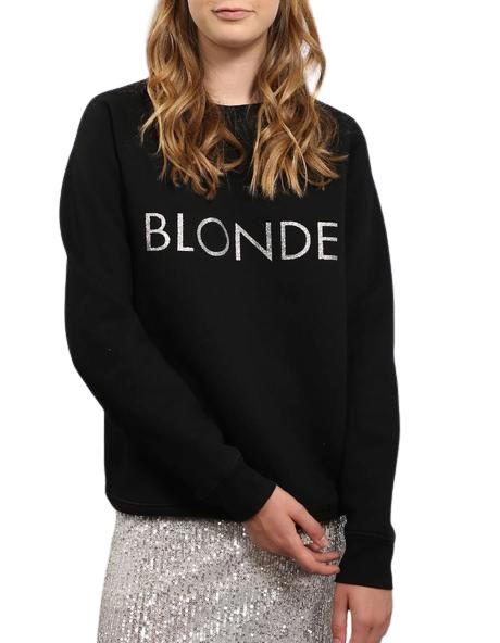 Blonde Silver Glitter Crew Neck Sweater - Black/Silver - Styleartist
