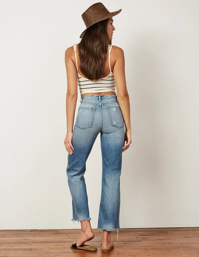Boyish Jeans The Mikey Wide Leg Flare Button Fly- Medium Wash - Styleartist